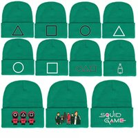 olive green hat Squid Game surrounding autumn and winter warm woolen dome curled knitted hats xe