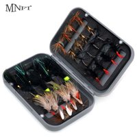 MNFT 32Pcs Boxed Dry Fly Fishing Lure Dry Flies Fish Hook Lures Fishing Black Brown Wooly Bugger Streamer Fly Fishing Lures 211015