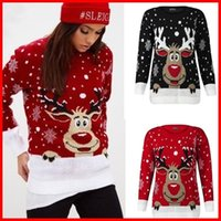 Women Sweater Ugly Christmas SHGTE weater Deer Warm Knitted New Long Sleeve Sweater Jumper Top O-Neck Santa Claus Fashion Casual Blouse