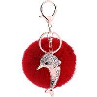 أزياء الفراء سبيكة حجر الراين لطيف الدلفين سيارة سلسلة المفاتيح الإبداعية كيرينغ حقيبة قلادة الملحقات