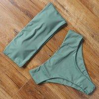 Bandeau Top Swimsuit Push Up Bikini Set 2021 Sexy Alta Cintura Sólida Terno de Banho De Verão Verão Swimwear Mulheres Beachwear Cor Biquini 1134 Z2