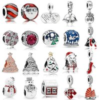 Christmas Charm 925 Sterling Silver Multi Style Pave Santa Claus Charms Snowman Beads Fit Pandora Original Bracelets Bangle Jewelry Christmas' Day Gift