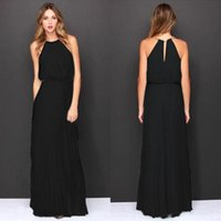 Casual Dresses 2021 European And American Fashion Hanging Neck Solid Color Chiffon Sleeveless Dress Irregular Blend Pure