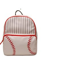 Backpack RTS 1PCS Wholesale PU Gym Baseball Prints Women Faux Leather With Black Stripes And Lace Bottom DOM1767