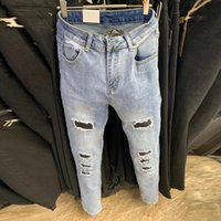 Men's Jeans Retro Blue Skinny Denim Jean Men Ripped Wash Stacked Motorcycle Pant Hole Straight Leg Fashion Brand Stretch