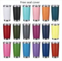 20oz Car cups Stainless Steel Tumblers Cups Vacuum Insulated Travel Mug Metal Water Bottle Beer Coffee Mugs With Lid 18 Colors WHT0228