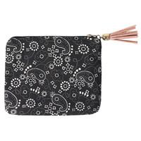 300pcs Coin Purses Women Cotton Retro Geometric Prints Credit Card Holder Wallets
