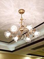 American Luxury Flower Glass Chandelier Living Room Dining Bedroom European Retro Pastoral Romantic Pendant Lamps