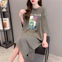 dresses summer women's maternity home loose long over the knee short sleeve T-shirt skirt