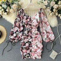 Повседневные платья NELLOE 2021 Панель цветок Печатная печать Лоскутное платье на стрижках Плиссированные сексуальные Bodycon Vestidos V-образным вырезом Осенняя A-Line