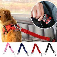Ajustável animal de estimação cão cão segurança assento cinto trela cachorrinho cães colares de viagem clipe cinta liderança 6 cores q1