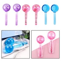 2PC Set Large Beauty Facial Ice Globe Rollers Cool Globes for Face Treatment Massage Tools Skin Car Eye Crystal Ball Water Wave Health Massager
