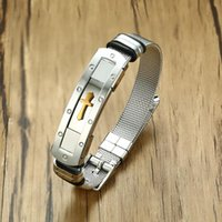 Modyle 12mm Mens Stainless Steel Mesh Belt Watch Band Cross Charm Christian Bracelet Adjustable Buckle Clasp Link, Chain