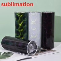 Sublimation peacock straight tumbler 20oz glitter tumblers stainless steel Cup double wall with lids and straw