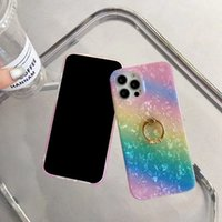 360 Metal Finger Ring Holder Soft IMD TPU Cases For Iphone 13 Pro Max 12 Mini 11 XS XR X 8 6 Touch 7 5 Bling Sequin Rainbow Gradient Fashion Luxury Mobile Phone Back Cover