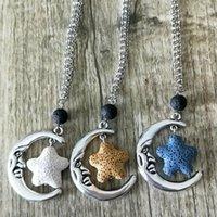 Pendant Necklaces Starfish Lava Stone Essential Oil Diffuser Necklace Jewelry Minimalist Volcanic Rock Moon 11 Colors