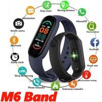 M6 pulseira inteligente relógio faixa de fitness rastreador de fitness frequência de pressão arterial monitor 5 cor de tela pulseira esporte homens e mulheres pulseiras com caixas de embalagem