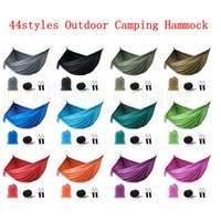 Pano de pára-quedas ao ar livre Hammock Campo dobrável Campo de acampamento Balanço Bed Bed Nylon Hammocks com cordas Carabiners 44styles Seashping RRA4243