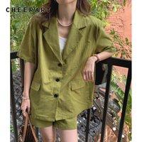 Женские спортивные трексуиты Haterart Avocado Green Два куска Blazer и шорты Установить каникулы повседневные наряды для женщин Корейская мода летняя одежда 2