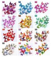 2021 3D Simulazione a doppio strato Simulazione Decorazione della farfalla Adesivi murali 12pc Farfalle 3D Farfalla 3D PVC Adesivi murali rimovibili OWD6146