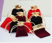 100 قطعة / الوحدة 7x10 سنتيمتر 10x12 سنتيمتر المخملية مطرز الرباط الحقائب مجوهرات هدية الحقيبة أكياس الرباط لحضور الزفاف تفضل، الخرز GC174