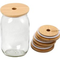 Couvercles de bambou réutilisables Couvercles de bambou réutilisables Couvercelles avec trou de paille et joint en silicone pour bocaux en maçon canning bocal de pote à boire Couvercle HWD9219