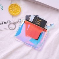 Card Holders Okolive Women Wallet Painted Cotton Cute Mini Transparent Laser Coin Purse Casual Travel ID Holder Clutch Child Bag