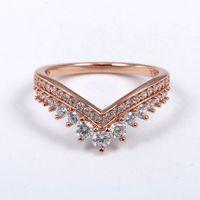 Rose gold CZ diamond princess wishing ring set suitable for Pandora European style 925 sterling silver ladies and girls wedding crown rings
