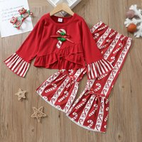 Euro American Girl Kleidung Set Weihnachtsbaum Langarm T-Shirt + Flare Hosen Kinder Kleidung Zwei Stück Sets