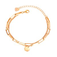 charm bracelets wristbands for women simple personality love tag link chain rose golden sliver stainless steel jewelry girls Valentines Day gifts