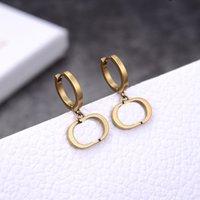 레트로 트렌드 패션 귀걸이 새로운 편지 황금 황동 소재 925 실버 바늘 여성 귀걸이 공급 NRJ