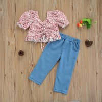 Baby & Children's 1-6Y Toddler Girl Summer Clothes Set 2pcs Flowers Printed Bow Off Shoulder T Shirts Denim Pants For Kids Clothing Sets