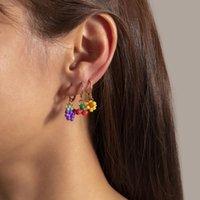 Hoop Huggie Leuke Kleurrijke Geweven Vruchten Druiven Acryl Kralen Kleine Earrings Set 6 Stks voor Dames Mode-sieraden Ooraccessoires
