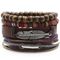 Charm Bracelets Cross Wing Leaf Wood Beads Fashion Boho Evil Eye Woven Men Leather Women Vintage Bangle Male Jewelry Accessories