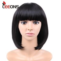 Synthetic Wigs Leeons Short Straight Bob Wig With Bangs Black Pink Green Shoulder Length Cospaly For Party Daily Use