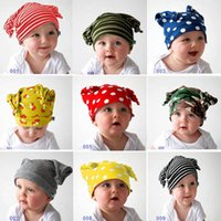 Caps Baby Hat Cotton Cartoon Hats Dot Striped Beanies Infant Toddler Accessories 0-3Y B4216
