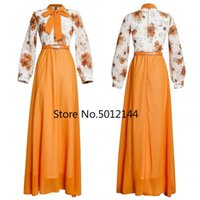 Ethnic Clothing African Dresses For Women 2021 Long Sleeve Printing Polyester Dress Clothes