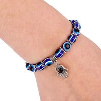 Charm Bracelets Fashion Sier Color Blue Evil Eye Hamsa Hand Fatima Palm for Women Bead Bracelet Ethnic Style Handmade Jewelry