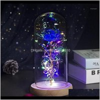 Decorative Flowers Wreaths Color Led In Glass Fake Dried Flower Rose Gift Home Decoration Mothers Day Valentines Party Christmas Weddi W37Jp