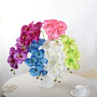 10pcs / lot Lifelike 인공 나비 난초 꽃 실크 호 접착 웨딩 홈 DIY 장식 가짜 꽃 1464 v2