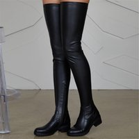 Women Shoes Black Thigh High Boots Autumn Pu Leather Low Heel Comfortable Over The Knee Waterproof Ladies 211021