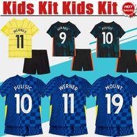# 9 Lukaku Home Blue Kids Kit Football Jerseys # 29 Havertz # 10 Pulisic Away Yellow Soccer Jersey 21/22 Barnfotbollskjorta # 7 Kante # 11Viller 3: e pojke fotboll uniformer