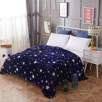 Stern dünne Decken Mode Quilt Twin volle Königin Jungen Mädchen werfen Flanelldecke auf Bett / Auto / Sofa Blaue Teppiche
