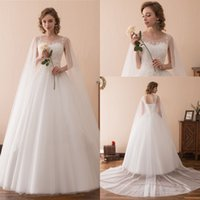 Charming Lace Wedding Dresses Beach Bridal Gowns Appliqued With Sheer Shoulder Yarn Fashion Elegant