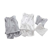 Clothing Sets Baby Suit Summer Girls Boys Cotton Sleeveless Vest Top + Shorts 2-Pce Children Casual Set 1 2 3 4 Years