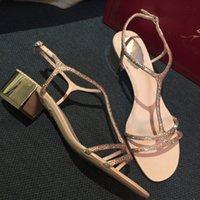Dress Shoes Sandálias femininas de salto grosso com strass, sapatos casamento uma linha, médio, do aberto, diamante embutido, novo, 2NT6