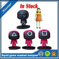 SQUID Game Puppe Set Rollenspiel Beliebte Koreanische Film Maskierte Mann Harz Ornament Puppe Handgemachte Sammlung Spielzeug Auf Lager