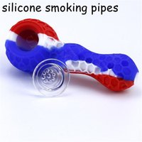 Silicone hand pipes for oil Vs Glass Bubblers with bowl dabber tools and lid Smoking Pipe function nectar collector
