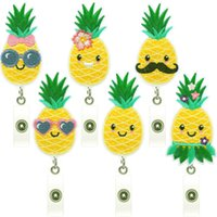 Pineapple Badge Reel Embroidered Brooches Retractable Pull ID Lanyard Card Holder Key Ring Pins Fruit Clips
