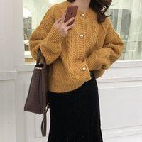 Coréen torsion épais de laine de laine de laine de laine peluche tend doux pull cireux chics mode de mode décontracté cardigan 210417